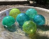 "Ocean Colors, Green Blue Speckled Glass Floats, Set of Six 2.75"" & 3.5"" Hand Blown Decorative Garden Balls Outdoor Spheres Avalon Glassworks"