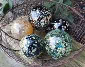 "Dark Red, Teal, And Gold Floats, Set of five, 3.5"" to 4.5"" Blown Glass Floats, Sturdy Decorative Glass Balls by Avalon Glassworks"
