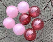 Cranberry and Light Pink Floats, Set of Eight Small Decorative Hand Blown Glass Balls, Indoor or Outdoor Garden Art Decor, Avalon Glassworks