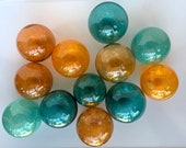 Teal and Orange Hand Blown Glass Balls, Set of 12 Small Garden Art Spheres, Indoor Outdoor Decor, Turquoise Peach Floats, Avalon Glassworks
