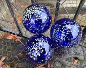 "Cobalt Blue Garden Balls, Set of Three 3.5"" Floats Hand Blown Design Spheres Dark Blue Beige Spots Outdoor Decor Art Orbs, Avalon Glassworks"