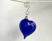"Cobalt Blue Hanging Abstract Glass Heart Ornament, 3"" Blown Glass Sun Catcher, Holiday Decoration, Valentine's Day Gift, Avalon Glassworks"