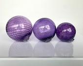 "Amethyst and Purple Glass Floats, Set of 3 Decorative Hand Blown Glass Garden Art Balls, 3.5""-4.5"" Outdoor Pond Spheres, Avalon Glassworks"