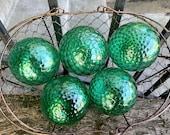 "Green Facet Floats, Set of Five 3"" Hand Blown Glass Balls, Emerald Green Diamond Optics, Garden Spheres, Interior Design, Avalon Glassworks"