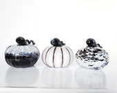 Black and White Pumpkins, Set of Three Blown Glass Gourds in Various Patterns w/ Ribs & Curly Stems, Fall or Autumn Decor, Avalon Glassworks