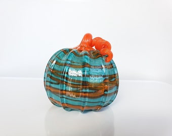 "Wacky Wrap Glass Pumpkin, 5.5"" Decorative Contrast Stripe, Blue & Orange Squash, Marbleized Swirl Design, Curly Stem, Avalon Glassworks"
