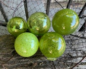 Olive Green Blown Glass Balls, Set of 5 Interior Design Spheres, Transparent and Opaque Garden Pond Floats, Outdoor Art, Avalon Glassworks