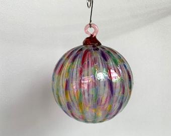 "Pink Mosaic Blown Glass Christmas Ornament, Green Amber Blue Purple, 3"" Hanging Rainbow Holiday Tree Ball Sun Catcher Art, Avalon Glassworks"