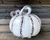 "Black and White Blown Glass Pumpkin, 5"" Decorative Squash Sculpture Curly Coil Two-Tone Stem, Autumn Halloween Decoration, Avalon Glassworks"