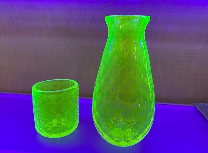 Uranium Glass Decanter and Tumbler Set Glows in Black Light image 0