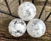 "White Spots on Clear Glass Floats, Set of Three 4"" Hand Blown Balls Outdoor Garden Art Spheres Table Centerpiece Decor, Avalon Glassworks"