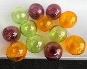 "Purple Green Gold Glass Balls, Set of 12 Pond Floats, 2.75"" Hand Blown Decorative Garden Art Spheres, Mardi Gras Colors, Avalon Glassworks"
