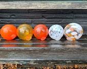 """Orange White Pond Floats, Set of Five 3.5""""-4"""" Hand Blown Glass Balls Interior Deign Spheres Decorative Outdoor Garden Art, Avalon Glassworks"""