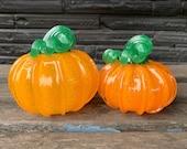 "Orange Glass Pumpkins, Set of Two 4""-4.5"" Blown Glass Gourds with Green Stems, Halloween, Thanksgiving, Autumn Decoration, Avalon Glassworks"
