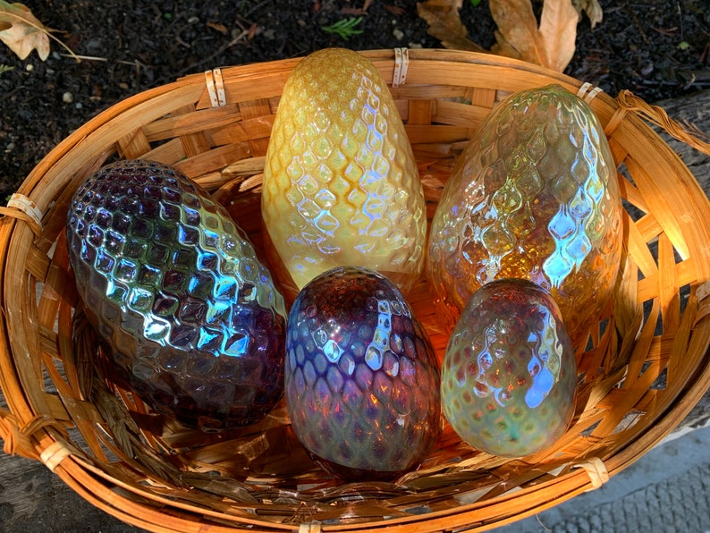 Glass Pine Cones Set of Five Blown Glass Pinecone Sculptures image 0