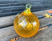 """Orange Facet Glass Ornament, Round 3"""" Hand Blown Hanging Sun Catcher, Yellow Loop, Metal Hook, Holiday Tree Decoration, Avalon Glassworks"""