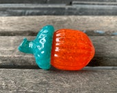Turquoise & Orange Glass Acorn Sculpture, Solid Glass Seed Pod Paperweight Fall Autumn Thanksgiving Table Decor, Oak Tree, Avalon Glassworks