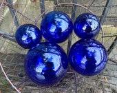"""Cobalt Blue Glass Floats, Set of Five 2.75""""-4.25"""" Garden Balls, Nautical Home Decor, Vibrant Blue Hand Blown Art Glass, Avalon Glassworks"""