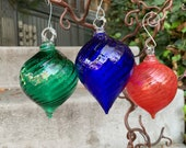 """Red, Blue, Green, 3 Blown Glass Ornaments, Set of Three, Droplet Twist Top Shape 3"""" Hanging Holiday Decor or Sun Catchers, Avalon Glassworks"""