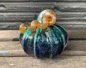 """Blue Purple Gold, 4"""" Blown Glass Pumpkin, Decorative Gourd Sculpture, Gold Ribs & Stem, Halloween Autumn Fall Centerpiece, Avalon Glassworks"""