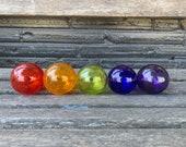 Smallest Glass Floats, Set of 5 Hand Blown Balls, Decorative Garden Design Spheres, Purple Green Orange Red Cobalt Blue, Avalon Glassworks