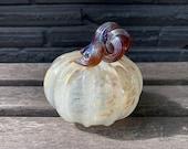 "Beige Brown Blown Glass Pumpkin, 4"" Decorative Squash Gourd Sculpture, Halloween Autumn Fall Thanksgiving Art Decoration Avalon Glassworks"