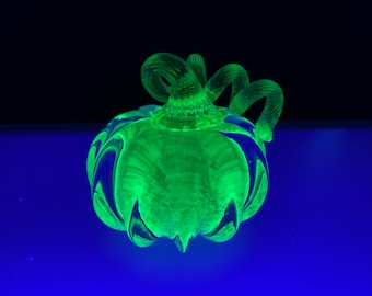 Uranium Glass Pumpkin Paperweight, Glows in Black Light, Hand Made Bright Yellow Vaseline Glass Art Sculpture UV Reactive, Avalon Glassworks
