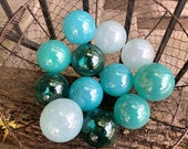The Aquas, Set of 12 Blown Glass Balls, Small Decorative Floats, Turquoise Blue Transparent Teal, Outdoor Garden Art Decor Avalon Glassworks