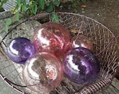 Glass Floats, Pink & Purp...