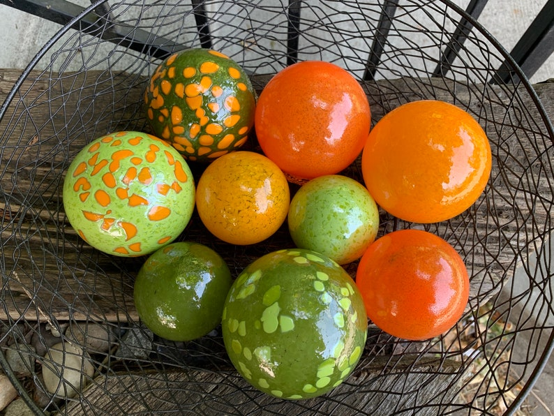 That 70's Set Green and Orange Floats Set of Nine image 0