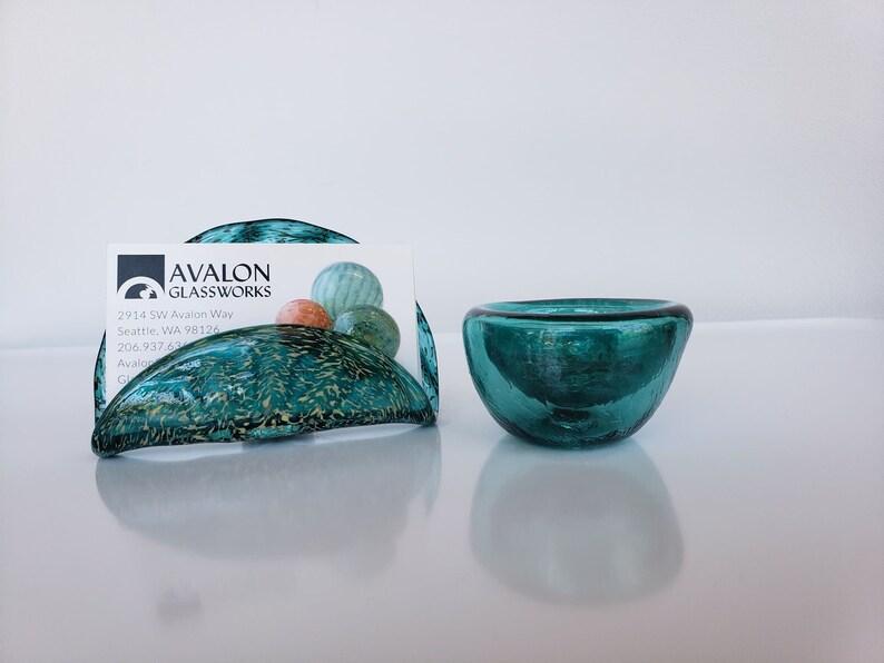 Aqua Teal Glass Business Card Holder and Mini Dish Set Hand image 1