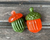 Glass Acorns, Set of Two Orange and Green Seed Pod Sculpture Paperweights, Autumn Fall Decor Natural Woodland Oak Tree Art Avalon Glassworks