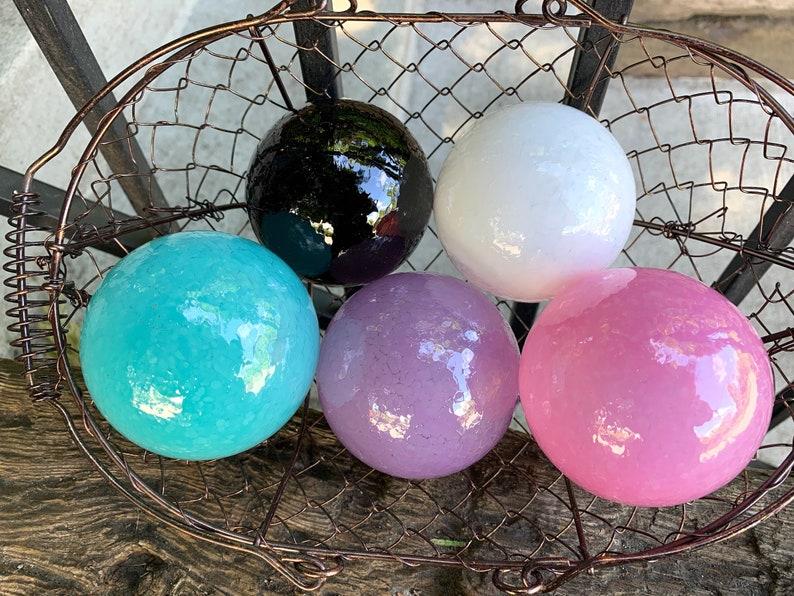 Princess Colors Blown Glass Balls Set of 5 Floats Opaque image 0