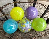 Spring Colors, Purple Blue Yellow Green Hand Blown Glass Floats, Set of 5 Design Spheres, Garden Pond Art, Outdoor Decor, Avalon Glassworks