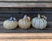 Gold Silver Beige Glass Pumpkins, Set of 3 Hand Blown Gourds, Curly Stems, Fall Thanksgiving Halloween Autumn Art Decor, Avalon Glassworks