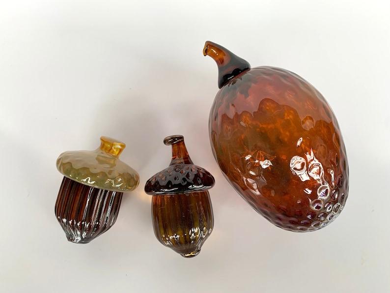 Glass Pine Cone & Acorns Set of Three Autumn Sculptures image 0