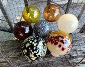 Earth Tone Blown Glass Floats, Set of Seven Natural Color Balls, Burgundy Red Brown Amber Beige, Interior Design Spheres, Avalon Glassworks