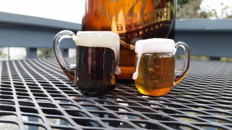 Beer Mug Ornaments Micro Brews Set of Two Mini Beer image 0