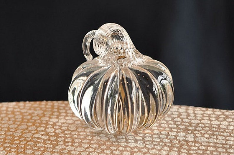 Mini Crystal Pumpkin Paperweight 2.5-3 Hand Sculpted image 0
