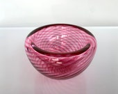 """Cranberry Glass Pink Optic Twist Bowl, 4.25"""" Double-Wall Style Candy Dish, Jewelry Holder, Key Drop, Front Hall Decor, Avalon Glassworks"""