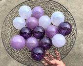 "Lilac & Lavender Purple, Set of 15 Blown Glass Garden Balls, 2.75"" Decorative Floats, Outdoor Art Interior Design Spheres, Avalon Glassworks"