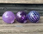 "Amethyst Purple Lavender Glass Floats, Set of Three 3.5"" Decorative Hand Blown Glass Garden Art Balls Outdoor Pond Spheres Avalon Glassworks"