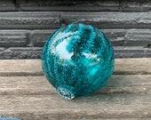 "Blown Glass Float, Aqua Blue Transparent with Opaque Turquoise Dotted Stripe, 4"" Decorative Sphere, Outdoor Garden Art, Avalon Glassworks"