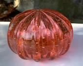 "Sea Urchin Shell Sculpture, 4"" Decorative Coral Peach Blown Glass Shell Trapped Bubble Pattern, Coastal Seashell Art Decor Avalon Glassworks"