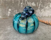 Turquoise Metallic Beige Spot Blown Glass Pumpkin, Decorative Art Gourd Sculpture Table Centerpiece Silver Blue Ribs Stem, Avalon Glassworks