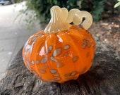 "Orange Beige Spot Blown Glass Pumpkin, 4"" Decorative Squash Sculpture, Spotted Organic Pattern Curly Stem, Front Porch Art Avalon Glassworks"