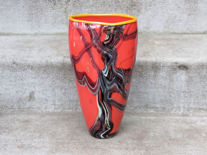 Red Oak Vase 12 Tall Blown Glass Art Vase in Coral Red image 0