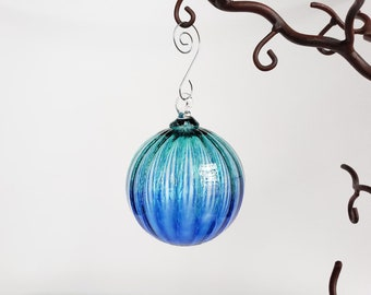 """Blue Two-Toned Blown Glass Ornament, 3"""" Sun Catcher, Christmas Decoration, Hanging Ball & Metal Hook, Watery Aqua Ombré, Avalon Glassworks"""