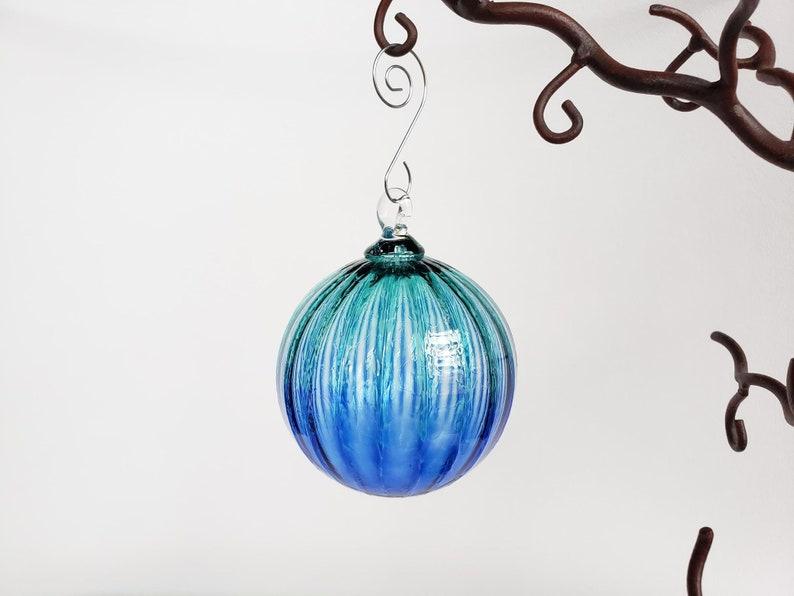 Blue Two-Toned Blown Glass Ornament 3 Sun Catcher image 1