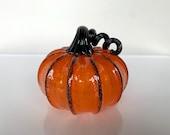 "Orange and Black Pumpkin, 4.5"" Decorative Hand Blown Glass Squash Sculpture, Curly Black Stem, Autumn Fall Halloween Art, Avalon Glassworks"
